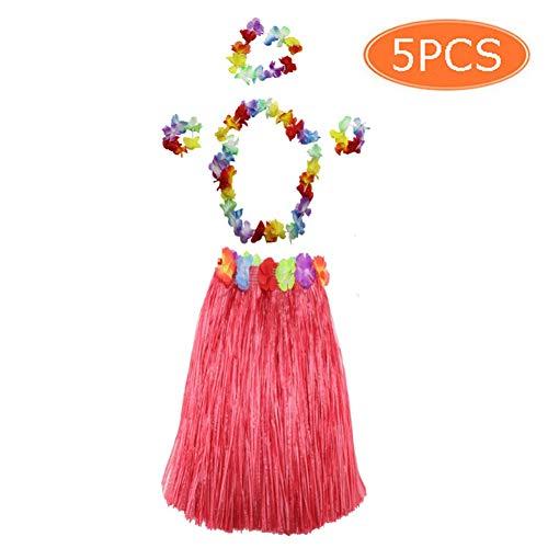 Sportmall Juego de 5 Piezas Falda de Hula de Hierba para niños Adultos con Collar de Flores Lei Pulseras Tocado Juegos Divertidos Fiesta Hawaiana Disfraces para Fiestas de Playa Favores de Baile