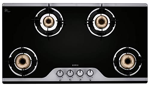 Elica Slimmest 4 Burner Auto Ignition Gas Stove with Double Drip Tray and Forged Brass Burners (904 CT VETRO 2J (TKN CROWN DT AI))