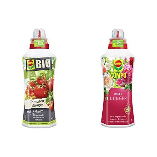Compo BIO Tomatendünger für alle Tomatenpflanzen, Natürlicher Spezial-Flüssigdünger, 1 Liter & Rosendünger für alle Rosen im Zimmer, in Kübeln, Beeten sowie im Freiland, Spezial-Flüssigdünger, 1 Liter