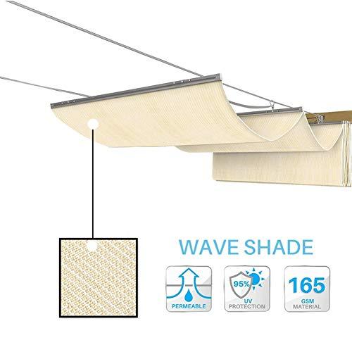GDMING Vela De Sombra Ola Pabellón Retráctil Al Aire Libre Patio Terraza Toldo Reemplazo Cubierta De Pérgola Protección UV Permeable Poliéster,30 Tamaño Versión Actualizada 2020