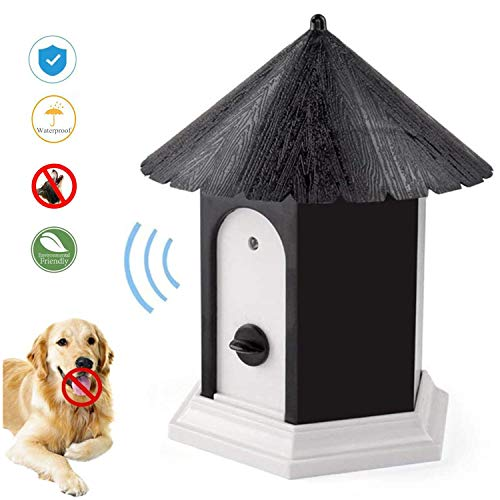 LuckyDarling Anti Barking Device, Ultrasonic Sonic Bark Deterrents, Dog Training Stopping Barking Tool, Outdoor Waterproof Dog Bark Controller in Birdhouse Shape (Black)