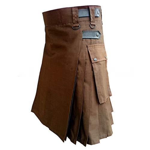 BIKETAFUWY Herren Vintage Kilt Schottland Steampunk Gothic Fashion Kendo Pocket Röcke Schottische Kleidung Kendo spezielle Herrenhose Bequeme Wrestlinghose Stretch Stoff Hose