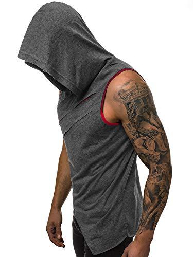 OZONEE Herren Tank Top Tanktop Tankshirt Ärmellos Bodybuilding Shirt Unterhemd T-Shirt Muskelshirt Achselshirt 777/108BO DUNKELGRAU L