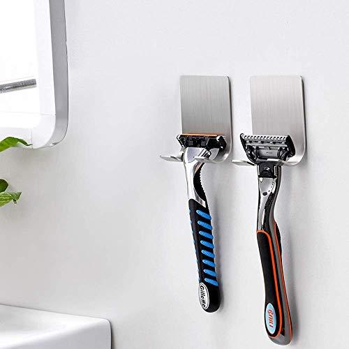 BRYUBR Razor Holder for Shower - Shaver Holder Hook Hanger(4 Pack) Heavy Duty Stainless Steel Self Adhesive Hooks, Shower Hook for Bathroom Kitchen Organizer for Robe Towel Loofah Bathrobe Coat