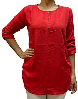 Veronica Long Sleeve Ladies Blouse round neck red