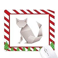 折り紙の幾何学的パターンの抽象的な猫 ゴムクリスマスキャンディマウスパッド
