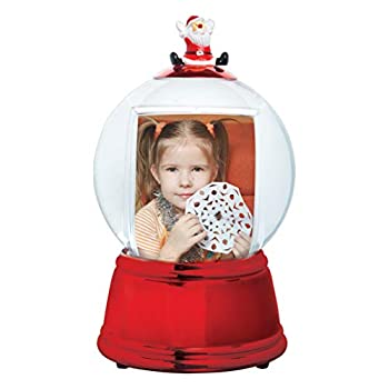 Santa Photo Snow Globe  Red