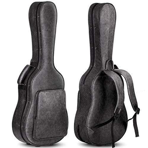 CAHAYA Estuche Guitarra Acústica Acolchada de 20mm Impermeable Fácil de Limpiar Funda Rígida para Guitarra Clasica Acústica Española 40 41 Pulgadas Color Negro