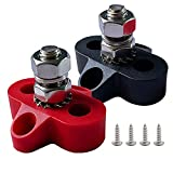 Ampper 1/4' Single Stud Battery Junction Posts, Heavy Duty Power and Ground Junction Block Power Distribution Studs Terminal Kit, Pack of 2 (Red and Black)