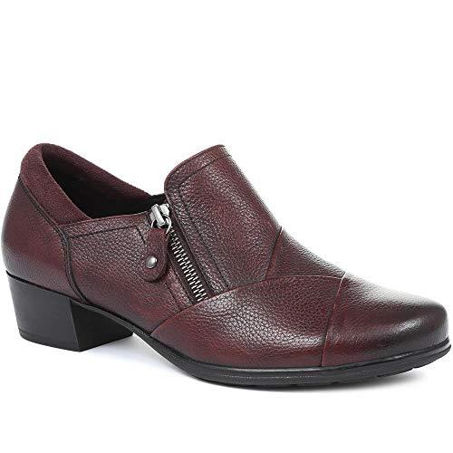 Relife By Pavers Mujer Zapatos De Tacón Apilado Cuero Borgoña 37 EU