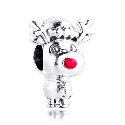 FUNSHOPP Breloque en argent 925 Rudolph le renne au nez roug