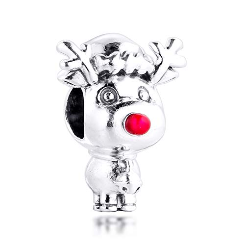 FUNSHOPP 2020 Winter Christmas Rudolph The Red Nose Reindeer Bead 925 Silver DIY Fits for Original Pandora Bracelets Charm Fashion Jewelry