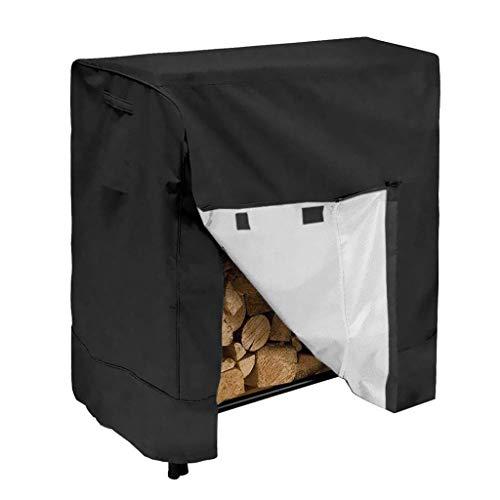 Risareyi 420D Oxford Tissu Heavy Duty Bois Log Rack Couverture - All-Weather Protection extérieure - intérieur ou extérieur Bois Rangement - coupe-vent antipluie Bois Couverture Noir