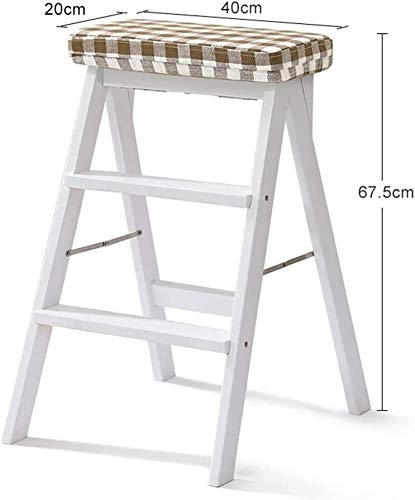 FANLIU Massivholz Hoher Hocker Trittschemel Leiter, Hauptküche Climbing Hocker Klappleiter Wohnzimmer Pedal Hocker Tragbare Folding Chair (Farbe: Holz, Größe: 2), Größe: 1, Farbe: Weiß