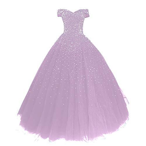 Abendkleid Lang Tüll Ballkleid Quinceanera Kleider A-Linie Schulterfrei Brautkleid Glitzer Abschluss Festkleider Lavendel 50