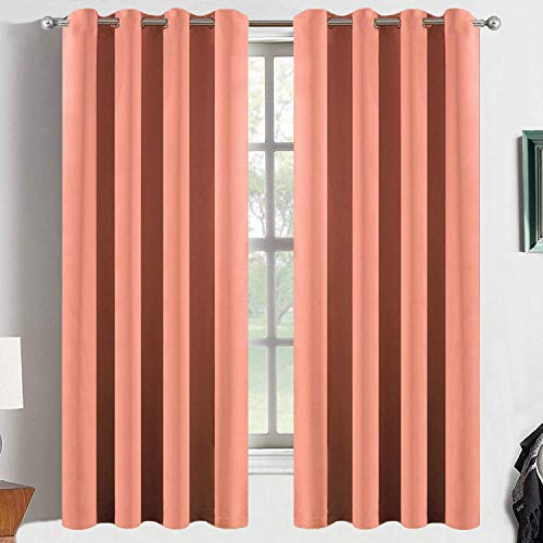 Yakamok Coral Orange Room Darkening Blackout Curtains Thermal Insulated Drapes Solid Grommet Top Window Curtain Panels for Girls' Bedroom, 2 Tie Backs Included(52x63 Inch, Coral Orange, One Pair)