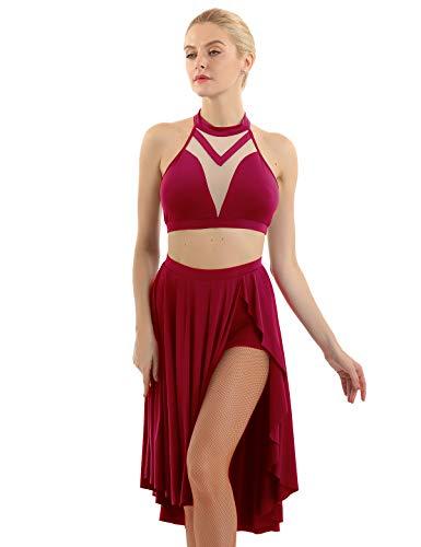 dPois Vestido de Baile Latino Mujer Vestido Salsa Disfraz Bailarina Vestido de Salón Bailar Rumba Zumba Top Malla Falda Larga Asimétrica Sexy Traje de Danza Lírica sin Mangas