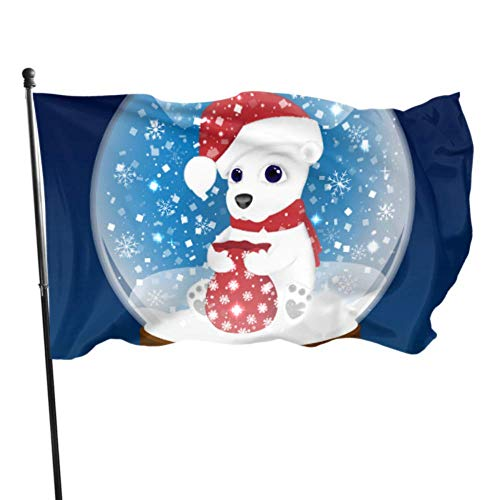 Jnseff Beautiful Christmas Crystal Ball Decorative Home Flags Flag Decoration 3x5 Feet Vibrant Colors Quality Polyester and Brass Grommets