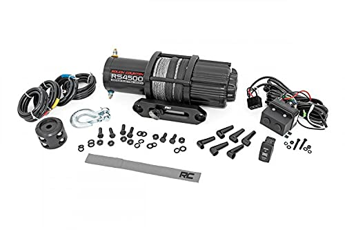 Rough Country 4,500 LB UTV/ATV Electric Winch | 50 FT 1/4' Synthetic Rope | 1.4 HP | Fairlead | Clevis Hook | RS4500S
