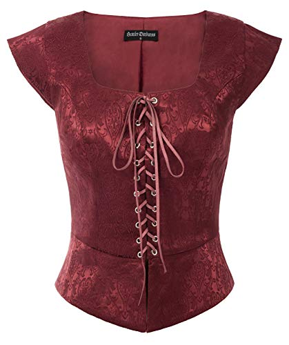 Scarlet Darkney damesvest, zonder mouwen, jacquard, vierkante kraag, middeleeuws
