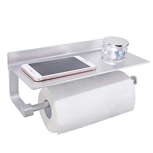 GERUIKE Papierhalter für Küche Aluminium Klopapierhalter Wc Halter Rollenhalter mit Regal für Mobiltelefon Wandmontage Selbstklebender Kleber Ohne Bohren Silber
