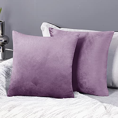 Deconovo Fundas para Cojines de Almohada del Sofá Cubierta Suave Decorativa Protector para Hogar 2 Piezas 50 x 50 cm Lila