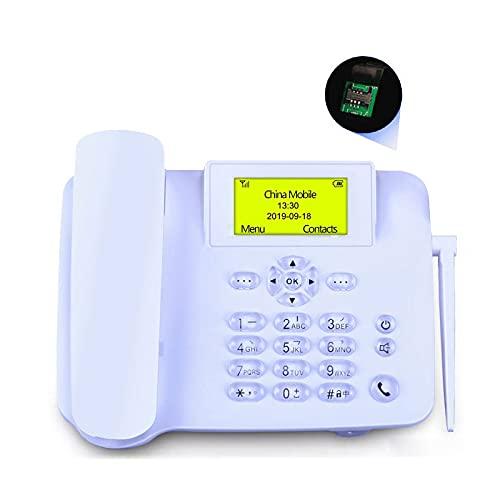 ELKeyko Teléfono inalámbrico de Idioma inglés con gsm SIM Teléfono inalámbrico de Montaje en Pared de Tarjeta LCD Pantalla para la Oficina en casa de Escritorio Negro (Color : White)