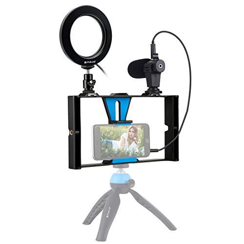 Cámara de Mano, Soporte de cámara,Juego de jaulas de Video con Video en Vivo con micrófono + 4,6 Pulgadas Kits de luz LED Selfie Ring,Blue
