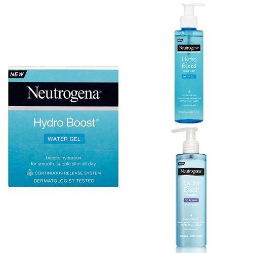 Neutrogena Hydro Boost Water Gel Moisturiser, Water Gel Cleanser and Gelée Milk Cleanser Trio Set
