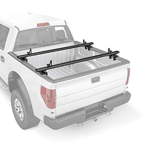 AA-Racks Model APX2503 Low Profile Heavy Duty Aluminum Truck Bed Rack for Trucks and Trailers with Open Rails (300lb On Road Capacity)