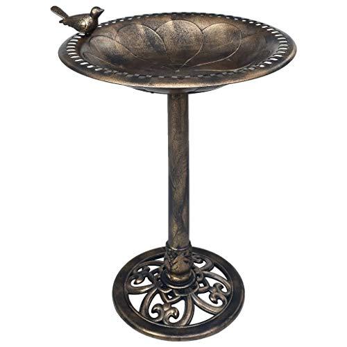 vidaXL Vogelbad Vogeltränke Vogel Futterstelle Tränke Bad für Balkon Terrasse Garten Gartendeko Vogelbecken Wasserschale Bronzen Kunststoff