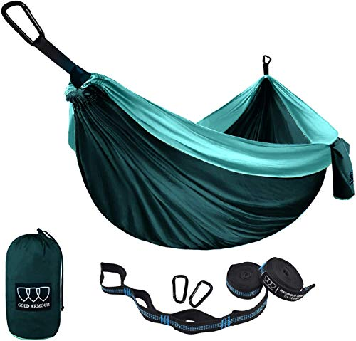 Gold Armour Camping Hammock - USA Brand Single Parachute Hammock (2 Tree Straps 10 Loops/20 ft Included) Lightweight Nylon Portable Adult Kids Best Accessories Gear (Turquoise/Seafoam)