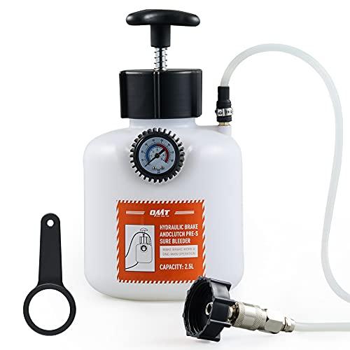 Orion Motor Tech Brake Pressure Bleeder, European Brake Bleeder with Hand Pump, 2.5L Pressure Brake Bleeder with Hose and European Adapter, Manual Brake Fluid Pressure Bleeder