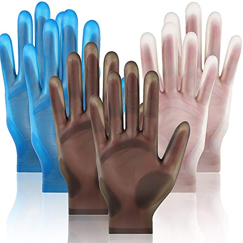 3 Pairs Reusable Safe Silicone Gloves for Resin Casting Projects Waterproof Silicone Gloves Finger Protectors for DIY Crafts Mitten Crystal Epoxy Casting Gloves (White, Black, Blue)