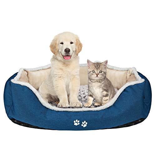 KROSER Cama de Perro con Almohada Reversible, Lavable a Máquina Cubiertas Extraíbles,Fondo Impermeable Antideslizante,83cm Cama para Perros Medianos de hasta 20kg-Marrón Claro/Azul