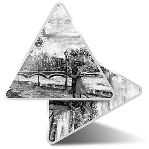 2 pegatinas triangulares de 7,5 cm – BW – Pareja romántica Londres Big Ben Fun Calcomanías para ordenadores portátiles, tabletas, equipajes, reservas de chatarra, neveras #42513