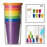 OFKPO 8 Pcs Vasos de Plástico, Tazas de Viaje Portátil y Reutilizable,Sin BPA para Camping, Picnics y Viaje ect, 200ML