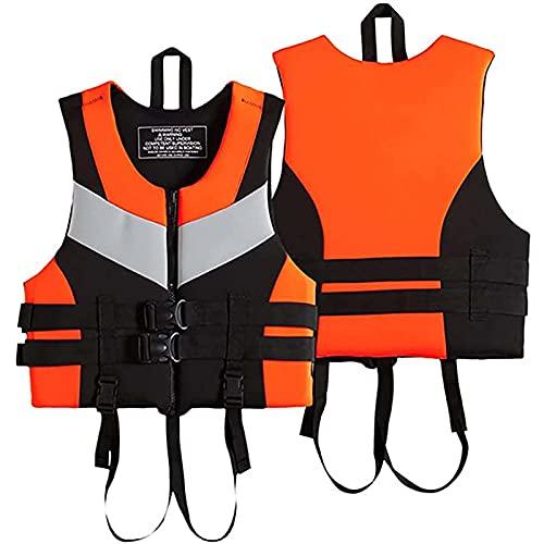 GLEYDY Chaleco Salvavidas Adulto, Chaleco De Ayuda a La Flotabilidad Ajustable Hombres Y Mujeres Deportes Acuáticos Neopreno Chaleco Flotador para Niños Adultos Seguridad Flotante,Naranja,L
