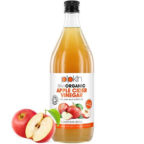 Vinaigre de Cidre de Pommes Brut avec La Mère 100% Bio OrganicPipkin – Pur, non raffiné, non filtré et non pasteurisé, 1000ml