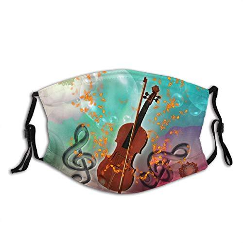 TABUE Mundschutz Gesichtsschutz Geige mit Geigenbogen Sturmhaube Gesichtsschal Mundschal Wiederverwendbarer Staubschutz mit 2 Filter