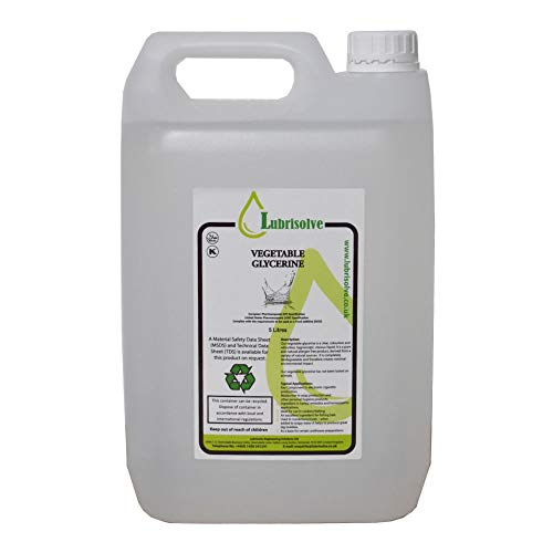 5 Litre Vegetable Glycerine EP/USP Food/Cosmetic Grade, Non-GMO, Odourless & Colourless (5 Litre)