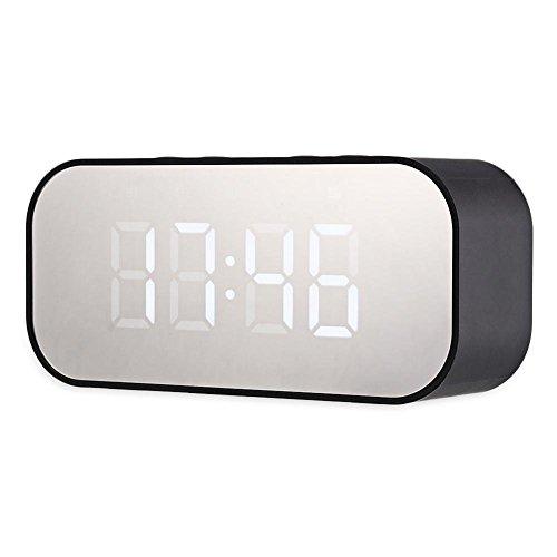 axGear Wireless Bluetooth Speaker Mirror Surface Dual Alarm Clock LED USB TF MP3 Player