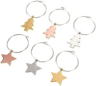6-Pack Christmas Wine Glass Ring Charms - Christmas Themed Decorative Wine Glass Markers - Glass Goblet Drink Tags - for Party Gathering, Favors, Decorations - Star and Tree Designs