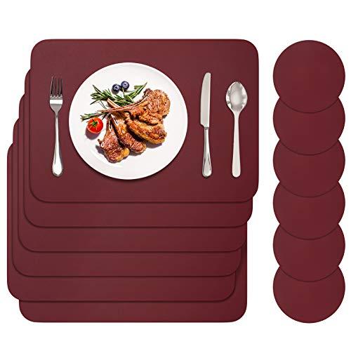 BANNIO Tovaglietta,PVC Tovagliette Cucina Lavabili Set di 6 Tovagliette e 6 Sottobicchieri,Tavola Antiscivolo Resistente al Calore Tovagliette per Tavola,42x30cm,Rosso Marrone