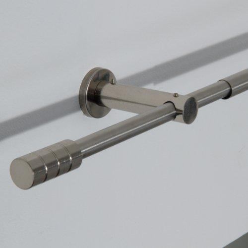 Ventanara Stilgarnitur 110 bis 200 cm Gardinenstange ausziehbar mit Endstücken Zylinder inklusive Montagematerial