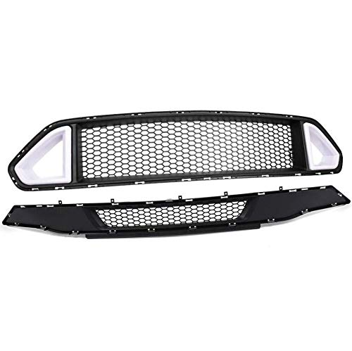 Front Bumper Grille Lower Hood Grille + Upper Grill W/ DRL LED Accent Vent...