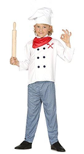 Guirca - Disfraz de cocinero con traje y gorro, para niños de 7-9 años, color blanco y azul (83363)