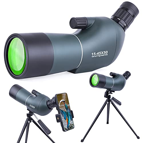 15-45x50mm Spotting Scopes with Tripod, Zoom Waterproof BAK4 Prism Monocular Telescope for Bird Watching, Target Shooting, Wildlife, Hunting and Scenery, with Phone Adapter & Case