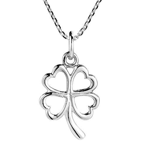 AeraVida Charmed Four Heart Leaf Clover Sterling Silver Necklace