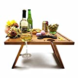 Outdoor Wine Table Foldable, Folding Wine Picnic Tray for Champagne Beer Bottle, Glasses, Cheese & Snack, for Romantic Dinners Outside, Beach, Camping, Concerts at Park, Perfect Wine Lover Gift